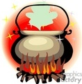 burning cauldron vector clip art image