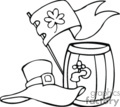 Black and white beer keg with leprechaun hat and clover flag