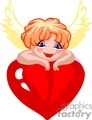 Small angel resting on a big red heart