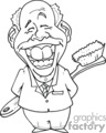 black and white outline drawing of dentist