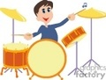 cartoon man playing the drums