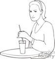 outline of a waitress bringing a drink to a table