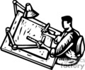 Black and White Architect Working at a Drafting Table using a lot of tools