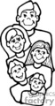 A Happy Family of Five in Black and White