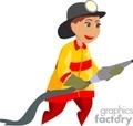 A Fireman Using a Fire Hose