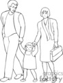 A mother and father walking with their little girl