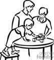 A black and white family playing blocks at a table