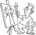 A black and white artist painting a cross