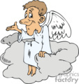 Man angel sitting on a grey cloud