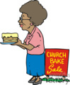 an older woman taking a layered cake to a church bake sale gif