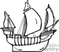 country style ship ships pirate pirates boat boats   ship007pr_bw clip art transportation water  gif, eps