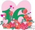 birthday birthdays anniversary anniversaries celebration celebrate 16 16th flower flowers heart hearts love gif, png, jpg, eps
