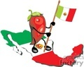 red chile pepper holding a mexican flag standing on a map of mexico