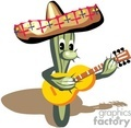 cactus playing the guitar while wearing a sombrero