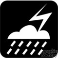 Black and white cloud with rain and lightning bolt
