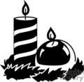 Two Black and White Candles One Tall with Stipes and One Round