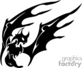 Black and white evil looking bat, mid-flight side-angled