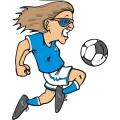 Female soccer player getting into the game.