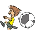 Girl soccer player running from a huge ball.
