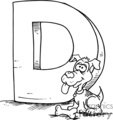 cartoon letter d with a dog