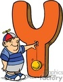 Big orange letter Y with a boy holding a yo yo