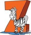 Cartoon letter Z with a funny Zebra