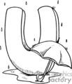 black and white letter U with umbrella