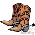 A Pair of Brown and Red Cowboy Boots with Silver Spurs