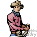 a cowboy with a red shirt and blue bandana holding a rope