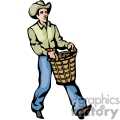 western cowboy cowboys vector wild west basket baskets man carrying gif, png, jpg, eps