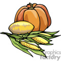 Pumpkin and corn on the cob vector clip art image