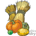 Pumpkin, Wheat, and other food vector clip art image