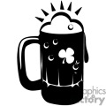 A Black and White Beer Mug Decorated with a Tree Leaf Clover and Bubbles