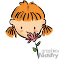 A Girl Smelling a Pink Flower