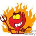 Halloween Devil in Front of Flames vector clip art image