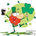 lucky leprechaun dancing with a glass of dark beer and shamrock