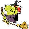Happy Green Witch With Red Hair Rides Broom