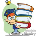 Graduation Boy With Four Books In Hands