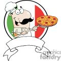 banner of a proud chef inserting a pepperoni and cheese pizza in front of flag of italy gif, png, jpg, eps