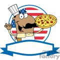 banner of a pleased african american pizza chef with his perfect pie in front of flag of usa