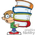 A little Boy In Green T Shirt and Blue Jeans With Books In His Hands
