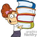 girl with books in their hands on a white background