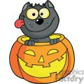 Happy Halloween Pumpkin with a Happy Black cat inside