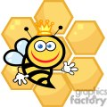 queen bee in front of honeycomb