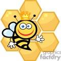 Queen Bee in front of honeycomb
