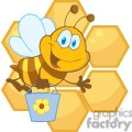 Smiling bee hold a bucket in front of honeycomb