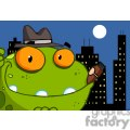 mobster frog cartoon with cigar in mouth
