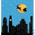 Christmas night Santa and Sleigh flying over the city