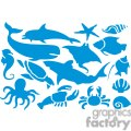 blue silhouettes of sea animals set gif, png, jpg, eps, svg, pdf