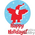 2354-Royalty-Free-Santa-Claus-In-Blue-Circle-And-Text